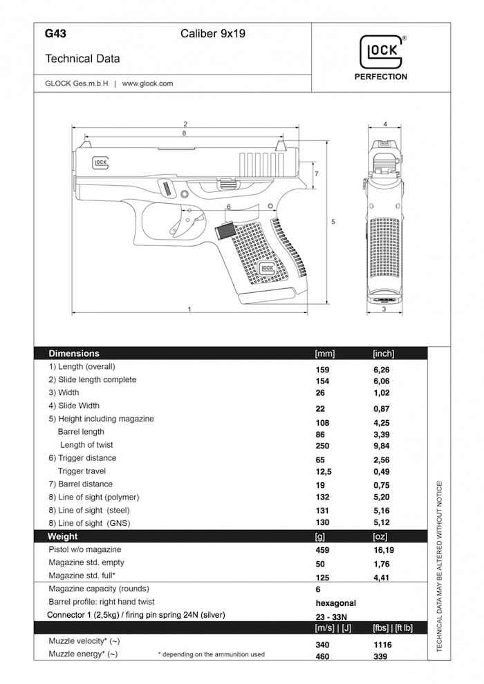 Glock 43 technical data